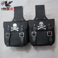 Skull Decal Black Universal Motorbike Saddle Bag For Honda Suzuki Yamaha Motorcycle Bags Leather Prince Cruise