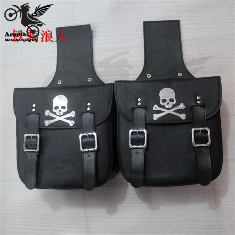 skull decal black universal motorbike saddle bag for honda suzuki yamaha motorcycle bags leather prince cruise moto side bag