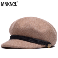 MNKNCL High Quality 100% Wool Beret Hat for Women Winter Warm Hats French Artist Beanie Hat
