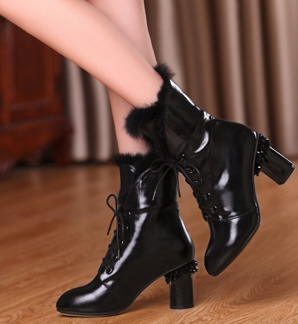 Women Winter Genuine Leather Thick High Heel Rabbit Fur Lace Up Round Toe Rivets Fashion Ankle Martin Boots Size 34-39 SXQ0826 women autumn winter genuine leather thick mid heel side zipper round toe 2015 new fashion ankle boots size 34 39 sxq0905