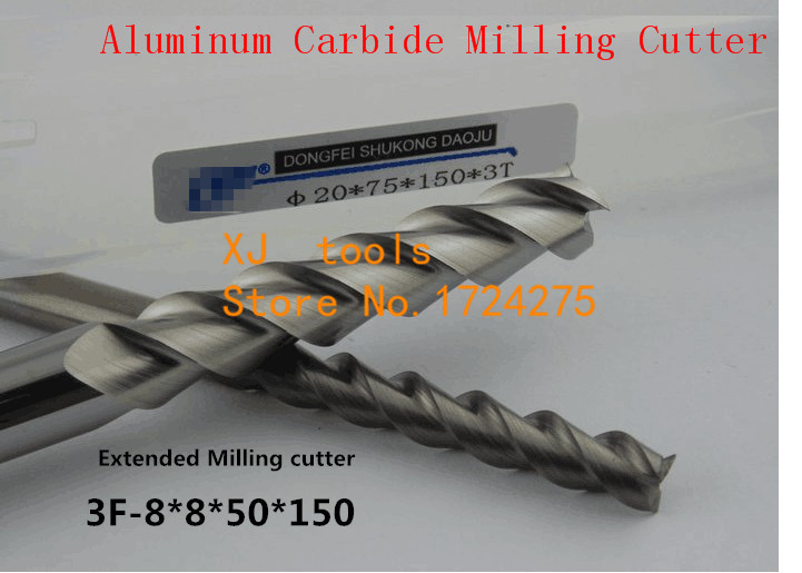 Free Shipping 8 0mm Long End Mill 8 8 50 150L 3 Flutes Aluminum Carbide End