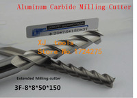 Free Shipping 8.0mm Long End Mill 8*8*50*150L 3 Flutes Aluminum Carbide End mills,Carbide CNC End mill Router Bits,lathe tool
