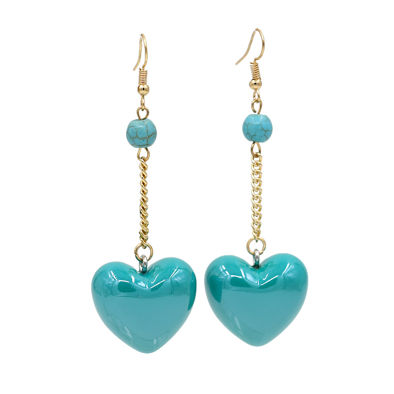 New love heart-shaped acrylic bright color earrings ladies simple wild