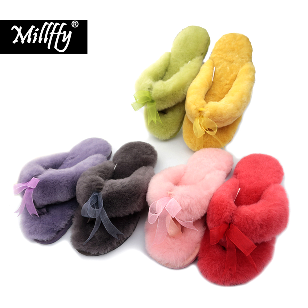 Millffy sheepskin slippers flip-conditioned home wool slippers womens slippers indoor shoes millffy plush slippers squinting little sheep indoor household slippers lambs wool home couple slippers