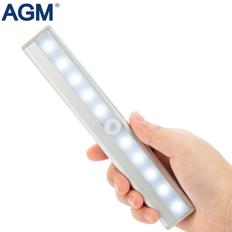 AGM PIR Motion Sensor Rechargeable Night Light Wireless 10 LED USB Body Portable Battery lamp For Closet Cabinet Wardrobe Tube four leaf clover pir motion sensor led night light smart human body induction novelty battery usb closet cabinet toilet lamps