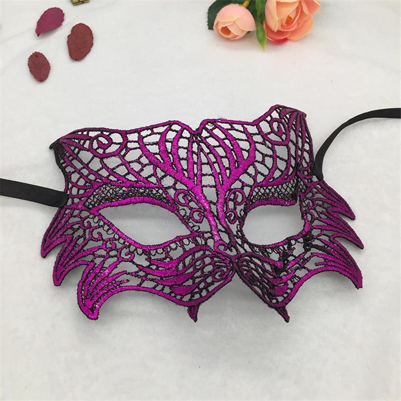 Фиксированная форма, Дамская Сексуальная Маскарадная маска из кружева для карнавала, Хэллоуина, выпускного вечера, Вечерние Маски, фиолетовые, горячее тиснение#35 - Цвет: PM039TZ