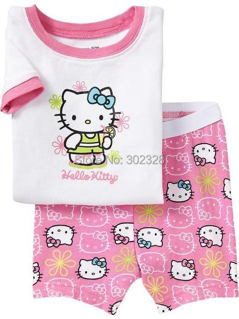 b3f4243fcc 2015 Baby Girl Hello Kitty Clothing Set Summer Pajamas Pyjamas Shorts Set  Pink Kids Sleepwear Cotton