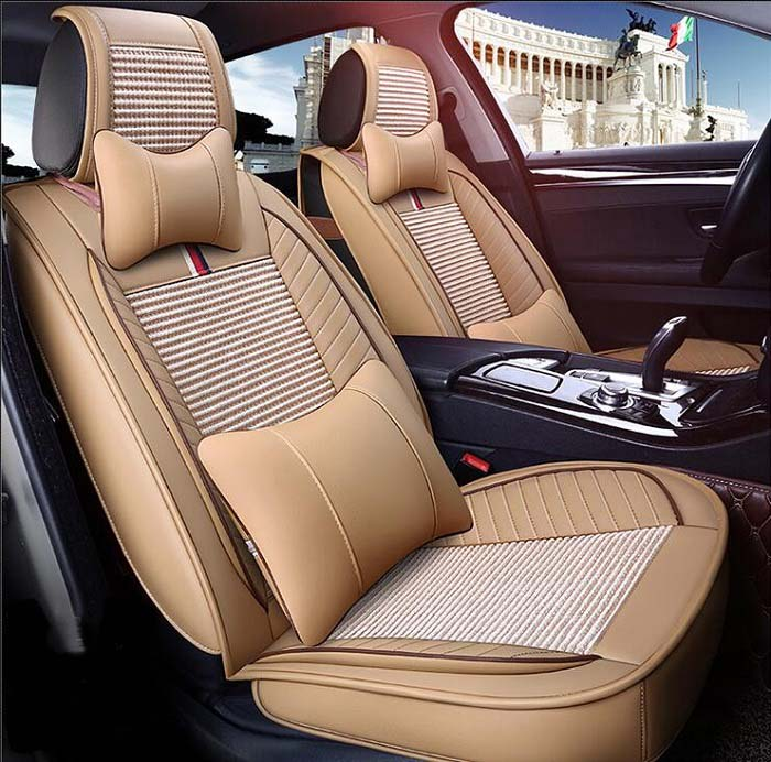 Auto Car Seat Cover full sets Universal Fit 5 seat SUV sedans front/back seat mats automotive linen fabric strip design Wh
