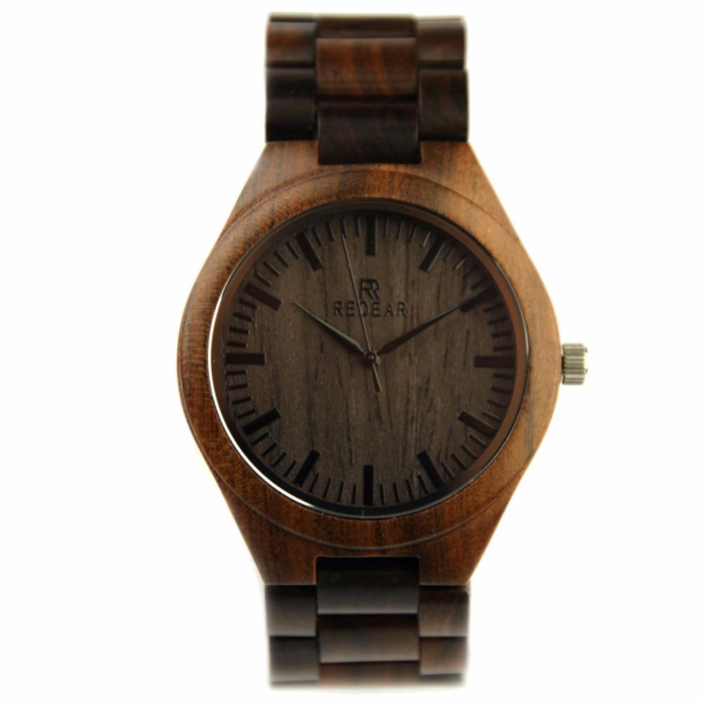 REDEAR Fashion Wooden Men s Watches Black Sandalwood Watch Top Brand Luxury Quartz Wristwatches Japan Movement