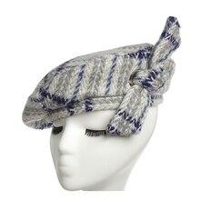 Women Berets hat Autumn Winter Fashion Lovely cotton blend bowknot Hats British retro leisure lattice line Hat
