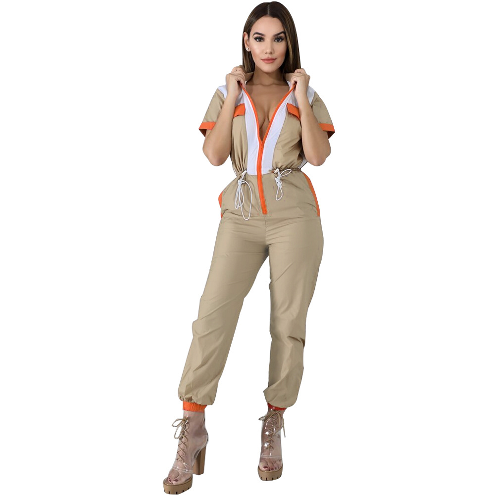 Vintage Patchwork Zipper Female Jumpsuit Casual Short Sleeve Turn-Down Collar Slim Rompers Lace Up Bandage Overalls For Women