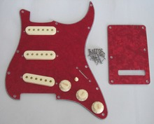 KAISH Red Pearl ST SSS Pickguard with Aged White Pickup Covers Knobs Tip