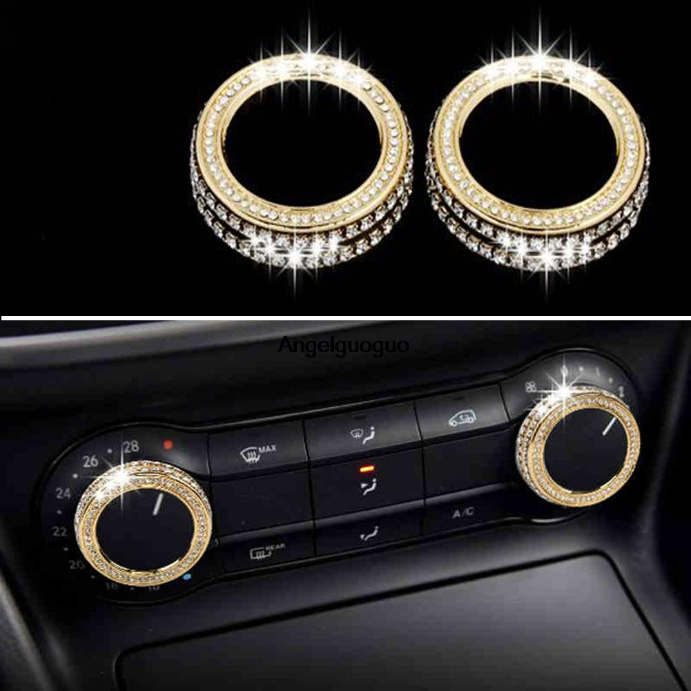 5 Colors Car Air Conditioning Knob Ring Cover Switch Decoration For Mercedes Benz GLA CLA A B Class W176 W246 C117 X156 Upgrade