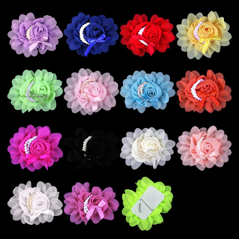 30pcs/lot 14colors Artificial Goldfish Bowknot Chiffon Rolled Rosette Flower With Pearls Solid Fabric Flowers For Kids Headbands