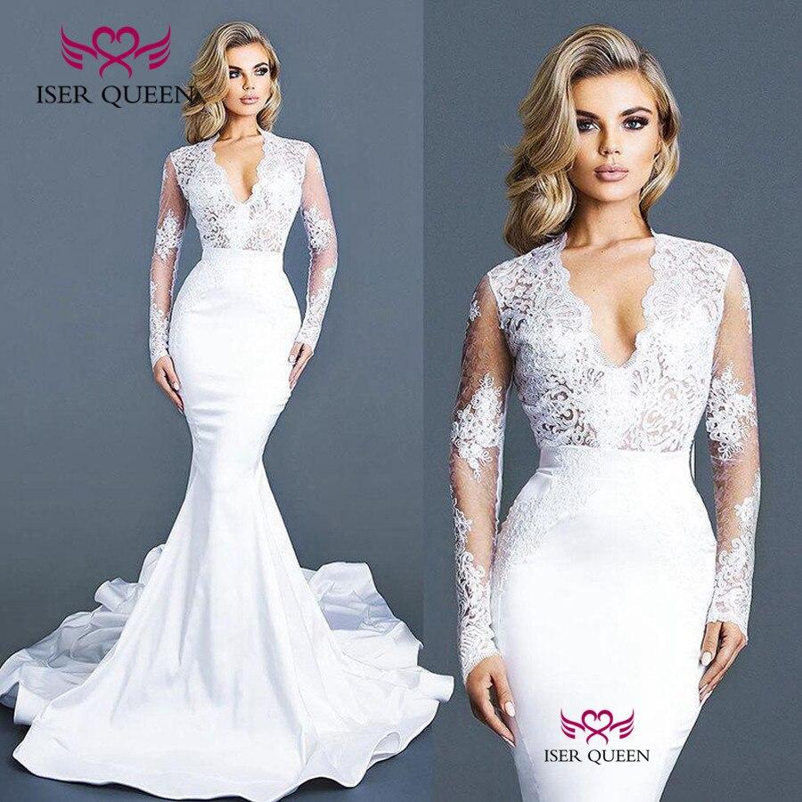 Satin Mermaid Wedding Gown: Vintage Lace Satin Mermaid Wedding Dress Mid East 2019 New