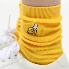 1Pair Cute Women Girls 3D Fruit Embroidery Cartoon Socks Cotton Warm High Hosiery Fashion Fruit Socks