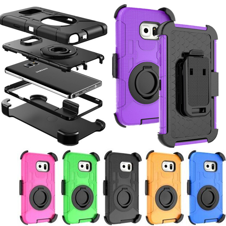 For Samsung S7 S6 Edge S5 Note 5 4 3 Silicone 3 in 1 Military Belt Clip Ring Holder Stand Case Shockproof Outdoor Phone Cover