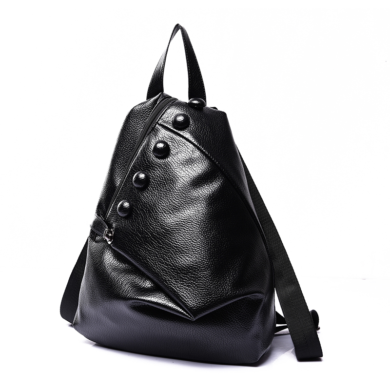 High Quality free shipping new leather women backpack fashion buttons backpacks for teenage girls black casual