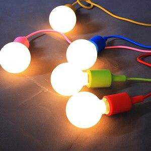Image 5 - Nowoczesne kolorowe lampy wiszące jadalnia lampy wiszące krzemionka materiał żelowy trzynaście kolorów uchwyt E27