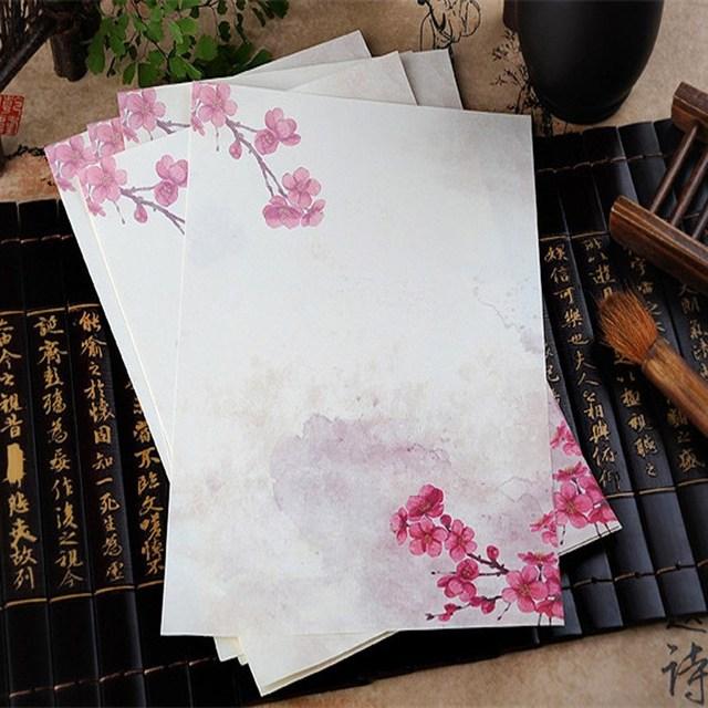 8 piunids/lote estilo chino papel de escribir flores carta de papel para niños regalo escolar suministros para estudiantes papelería