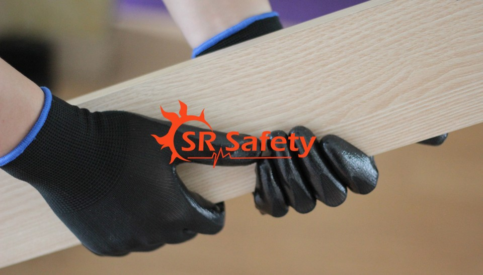 SRSAFETY 2 Pairs Coated Nitrile Dipped Gloves Handing Safety Working Gloves