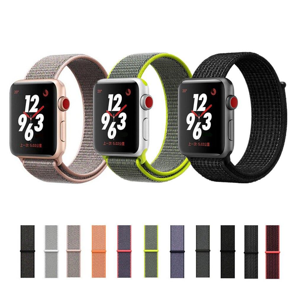 Sport loop band strap for apple watch 3/2/1 iwatch 42mm 38mm wrist bracelet belt Woven Nylon watchband+adjustable hook clasp