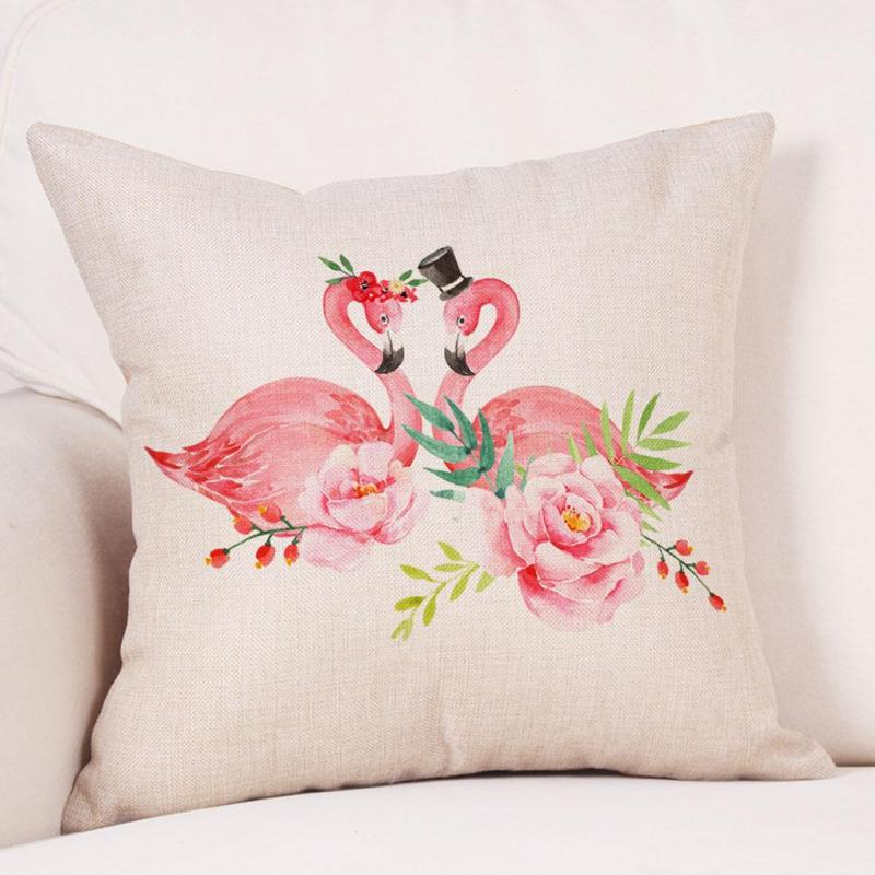 Pillow Case Animal Pink Flamingos Cushion Cover Linen Pillow Cover Couple Love Wedding Decorations 45X45 cm #30