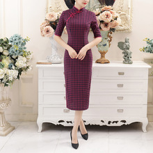 Chinese Traditional Cheongsam Womens Cotton Dress Plaid Costume Size M to 3XL
