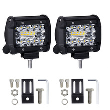 4 inch LED Work Light Bar Three Row 60W Flood Spot Combo 12V 24V Off Road 4WD ATV UTV Motorcycle LEDs Running