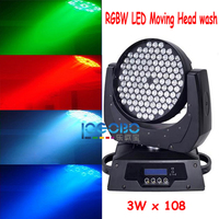 Free Shipping 6 PCS/Lot 3Wx108 DJ Lights Led Wash RGBW LEDs Bulbs Wall Moving Head Washer Light Professional Sound Up Lightings