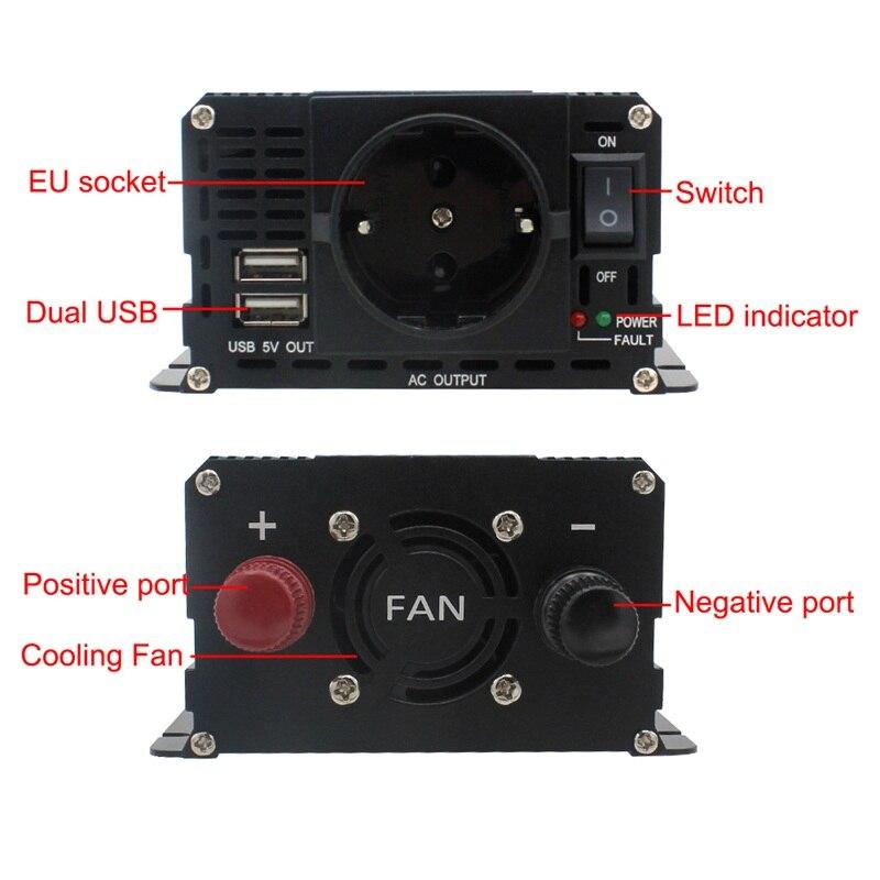1500 W/2000 W/2600 W onduleur à onde sinusoïdale modifiée affichage LCD DC 12 V à AC 220 V solaire 2 USB transformateur de voiture convertir prise EU - 3
