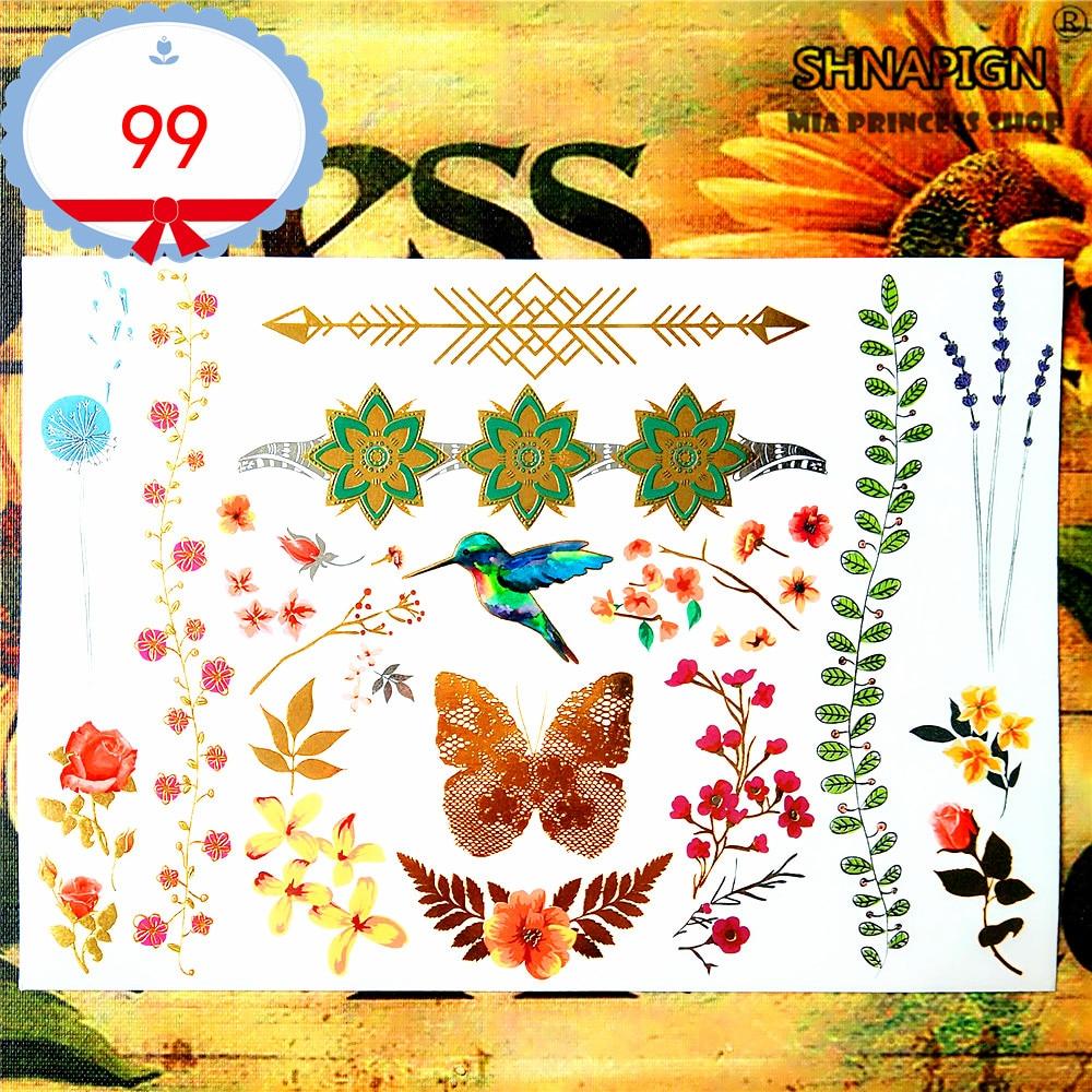 SHNAPIGN 24 style temporaire tatouage corps Art, oiseau dessins dorés, autocollant de tatouage Flash garder 3-5 jours étanche 21*15 cm