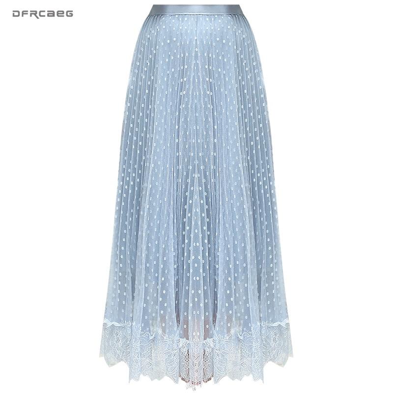 Fashion Lace Patchwork Women Tulle Skirt 2019 Summer Korean High Waist Polka Dot Mesh Skirt Long Casual Ladies Saias Faldas