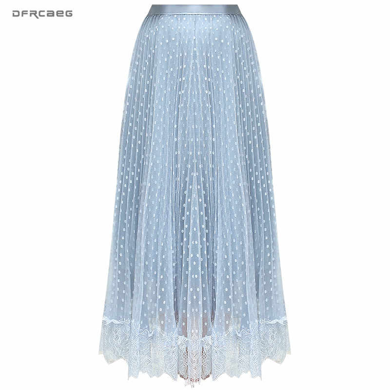 Fashion Lace Patchwork Women Tulle Skirt 2019 Summer Korean High Waist Polka Dot Mesh Skirt Long Casual Ladies Saias Faldas