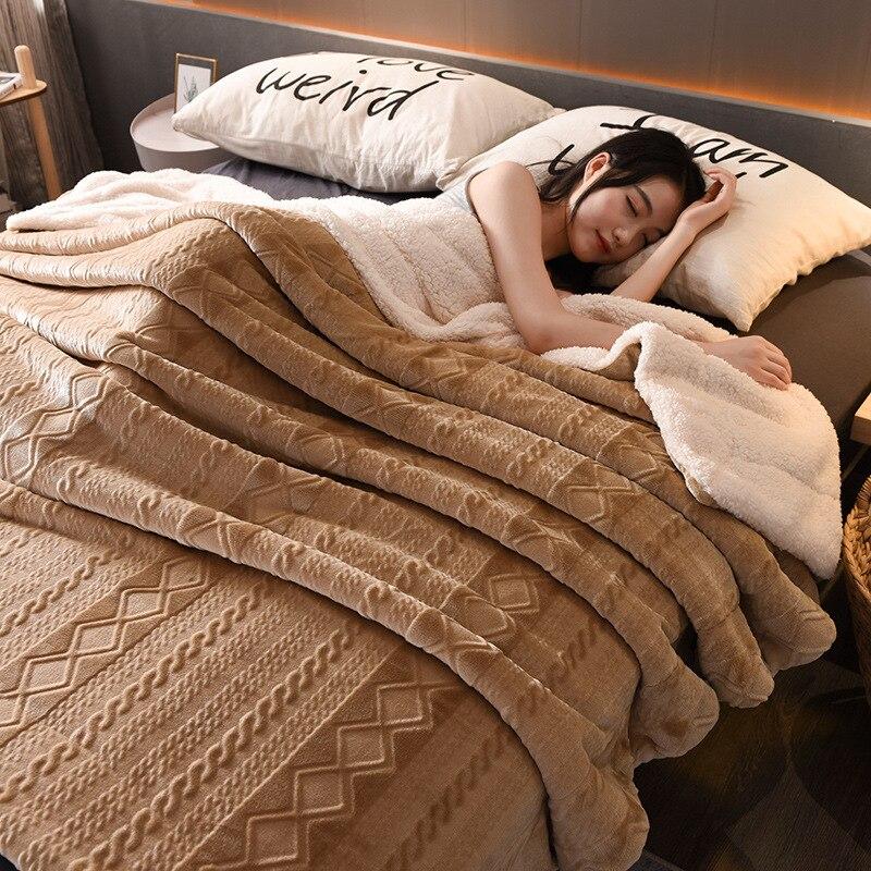 Large Warm Thick Lambskin Fleece Throw Blanket Coverlet