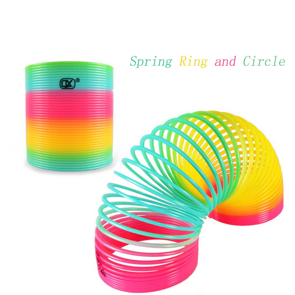 1pcs Rainbow Circle Funny Toys Early Development Educational Folding Plastic Spring Coil Children's Creative Magical Toys