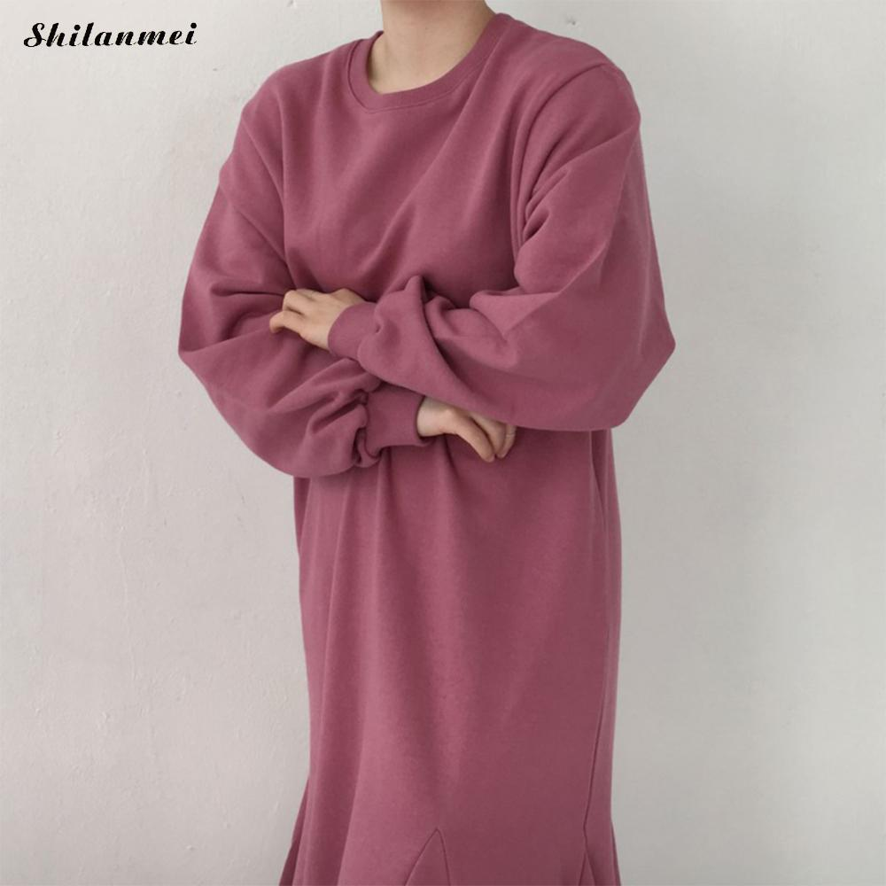 À Manches longues Robe Femmes Printemps Hiver Robe Casual Lâche Loog Robes Femme 2018 Nouvelle Mode Noir Robes Femmes style Coréen