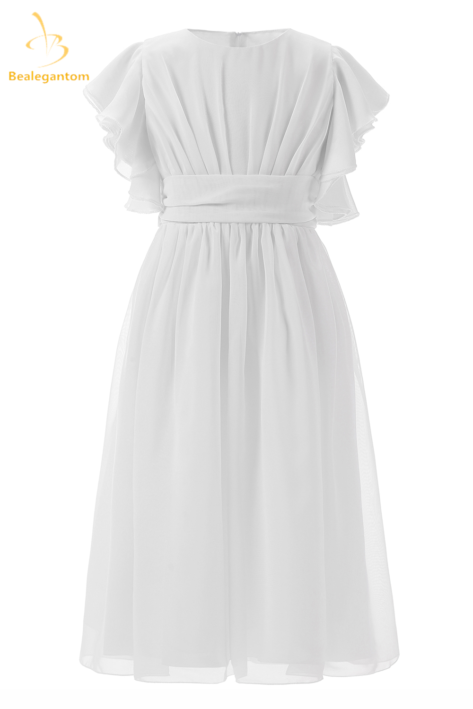 2019 New White Short Sleeves A-Line   Flower     Girl     Dresses   Princess Pageant Gown Vestidos De Comunion Gown QA1214