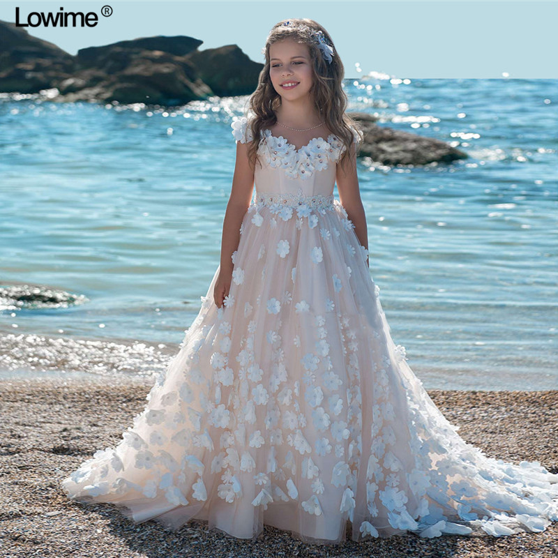 Sexy A-Line V-Neck   Flower     Girl     Dresses   For Weddings Full White Sequined   Flowers   First Communion   Dresses     Girls   Pageant   Dresses