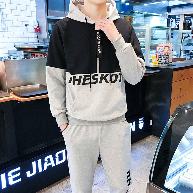 Brand men sets Letters printed Patchwork mens tracksuit Half zipper male sweatsuit Gray black sweat suits Casual hoodies pants ...