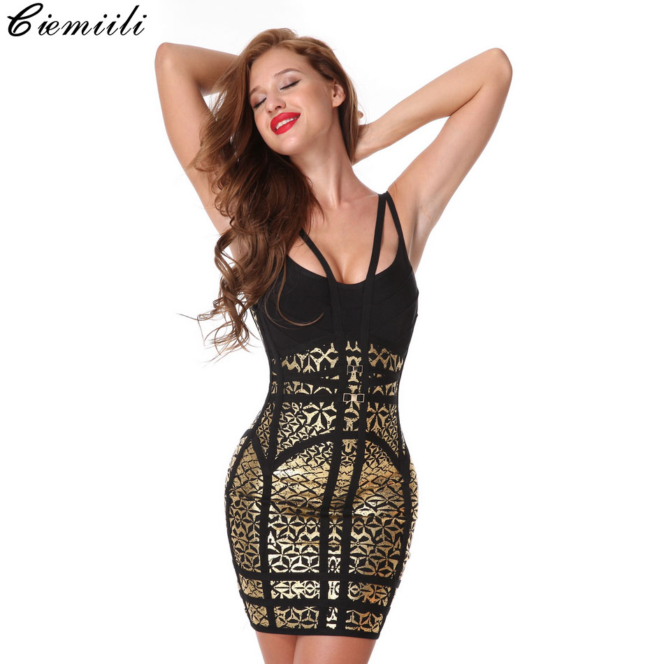 CIEMIILI <font><b>2019</b></font> Women Printed <font><b>Sexy</b></font> Bandage <font><b>Dress</b></font> Evening Party <font><b>Bodycon</b></font> Celebrity Strapless <font><b>Sleeveless</b></font> <font><b>Dress</b></font> Clubwear <font><b>Black</b></font> image