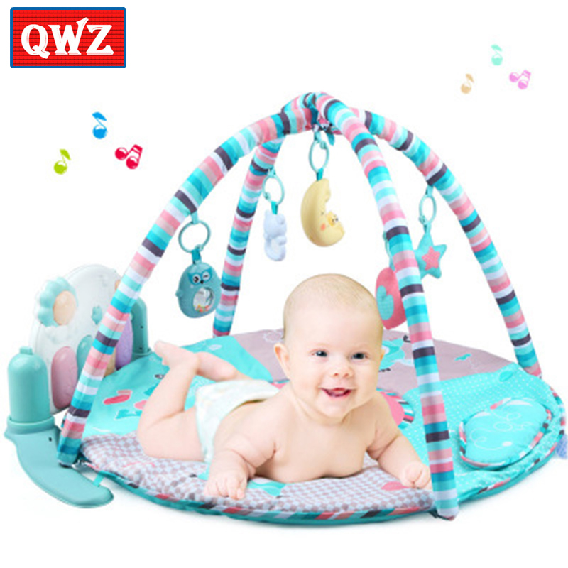 Baby Activity Gym baby foot piano fitness rack Baby pedal piano crawling mat Baby animal game blanket with tooth gel rattle toy