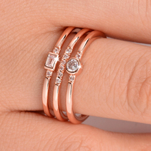 Fashion Rose Gold Engagement Rings for Women Hot Sale Personality Three-line Zircon Ring Wedding Jewelry