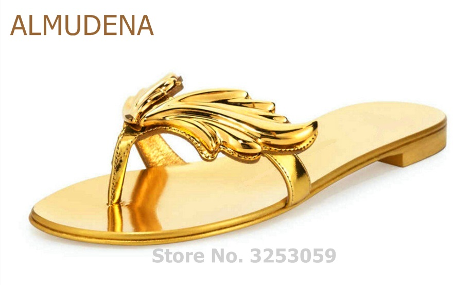 ALMUDENA Young Girls Sweet Stylish Gold Nude Black Leaf Flat Sandals Floral Flip Flops Patent Leather Beach Dress Shoes Slippers 2014 new gold scorpion black patent leather flat women sandals shoes free shipping