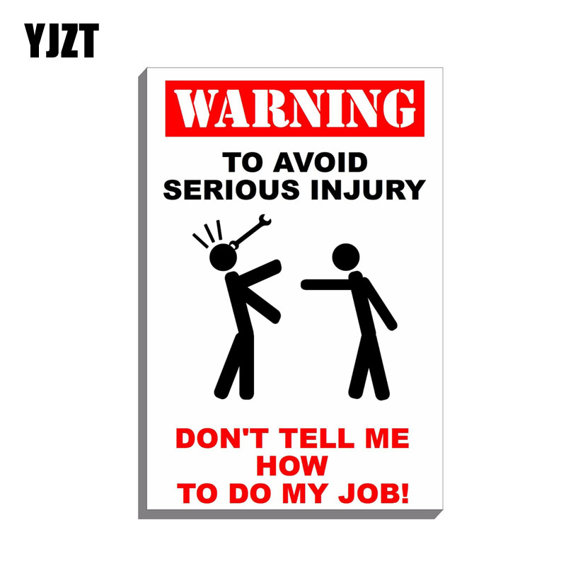 YJZT 9.3CM*14.8CM Reflective Decal Warning AVOID SERIOUS INJURY Car Stikcer Funny Decal PVC 12-0697