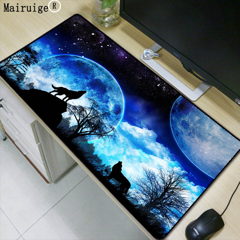 Mairuige The Wolf moonlaptop Gaming Large Locking Edge mouse pad Rubber Game Mouse Pad Decorate Your Desk at Home And Office авточехлы зимние the old pad at home