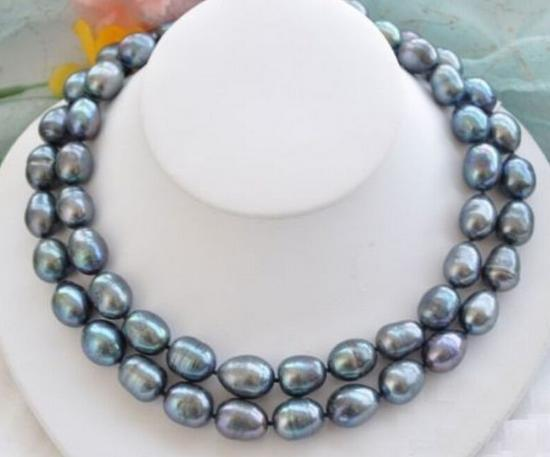 CHARMING NATURAL 11-13MM SOUTH SEA BLACK BLUE PEARL NECKLACE 35 INCH Jewelery