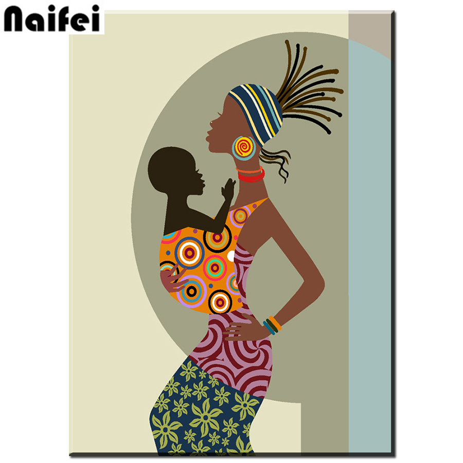 Full square Diamond 5D DIY Diamond PaintingBeautiful african woman with baby3D Embroidery Cross Stitch Mosaic Decoration gift