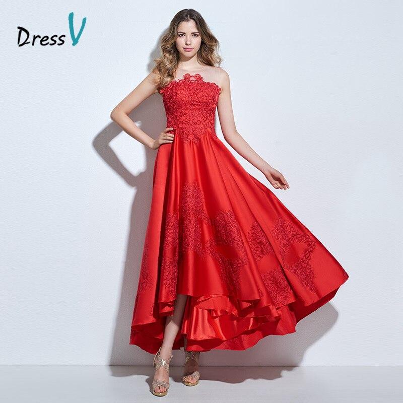 Dressv asimetría rojo apliques una línea de vestido de fiesta corto delantero tr