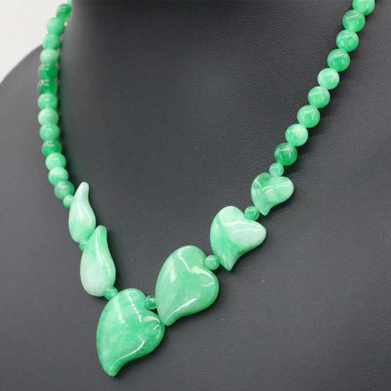 6mm Round Natural Stone Beads Necklace For Women Green Jades Chalcedony Heart Leaf Pendants Necklace Charms Jewelry 18inch B3394